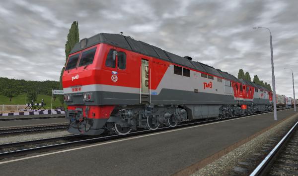 ТЭП70БС-187 в сцепке с ТЭП70БС-151 с пригородным поездом на станции Малохитовка